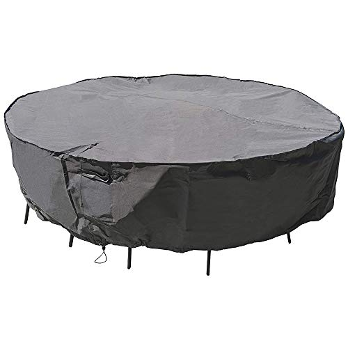 "MH M&H Patio Furniture Covers for Round Table and Chairs, Outdoor Furniture Covers Waterproof with Handles and Durable Hem Cord, Fit Large Round Furniture Set, 600D UV Resistant Fabric, 96"" Dia Taupe"