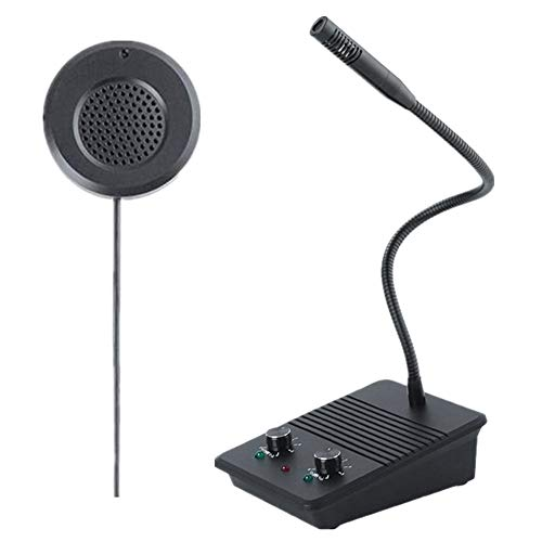 Window Speaker Intercom System Anti-Interfernce Dual-Way Intercommunication Microphone and Speaker Bank Window Inercom for Glass Window Microphone for Business/Bank/Office/Hospital