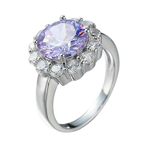 Beydodo Anillos Chapado en Oro Anillo de Compromiso para Mujer Púrpura Redondo con Flor Cristal Circonita Púrpura Talla 20