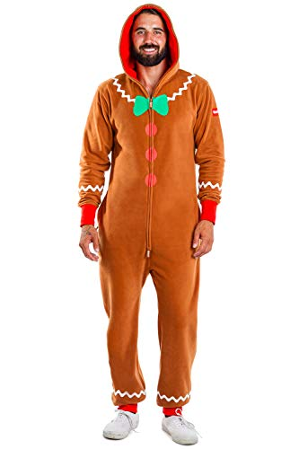 Tipsy Elves Cozy Men's Gingerbread Jumpsuit - Funny Gingerbread Cozy Christmas Onesie : XL