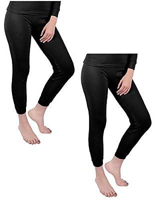 Andrew Scott Women's 2 Pack Long Thermal Fleece Cotton Legging Pants (Medium / 6, 2 Pack-Black)
