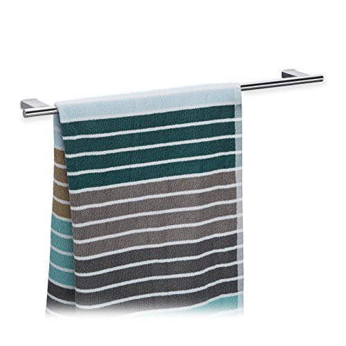 Relaxdays Porte-serviettes mural salle de bain inox 65 cm support serviettes torchons cuisine robuste, argent