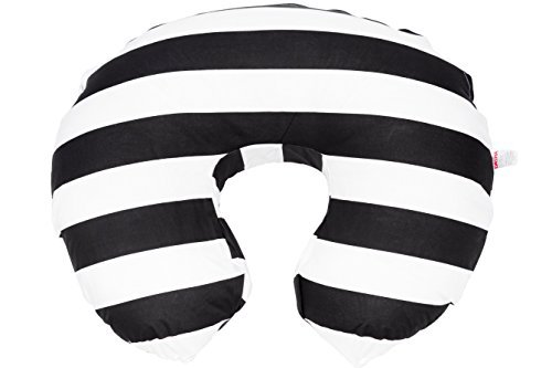 Maternity Breastfeeding Pillow Cover by Danha-Newborn Baby Feeding Cushion Case-Cute Donut Shape Wedge Pillow-Best Infant Support-for New Moms-Black and White Stripe Prints Slipcover