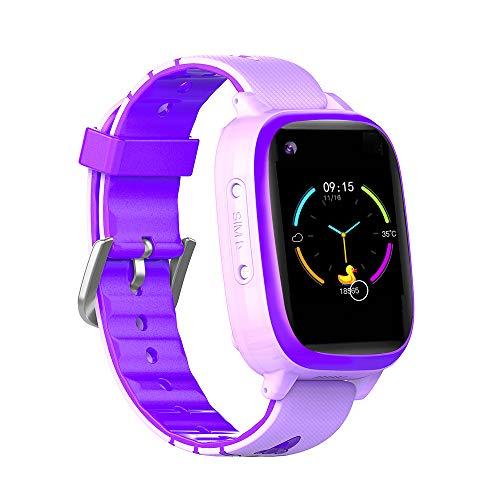 Montre intelligente 4G pour enfants GPS Tracker Enfants Smart Montres Téléphone pour Filles Garçons Anniversaire Bluetooth Appel Vidéo Numérique Caméra Étanche LBS Localisateur WiFi (Violet)