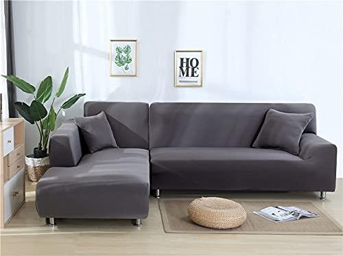 WXQY Funda de sofá de Esquina Flexible para Sala de Estar Funda de sofá Totalmente Envuelta Toalla de sofá elástica de Color sólido Funda de sofá de Esquina en Forma de L A11 2 plazas