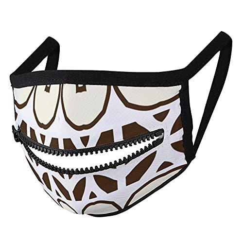 Hustor Crema blanca y marrón mosaico geométrico patrón de tela cara Ma_sk con cremallera reutilizable lavable pasamontañas boca Co_ver para hombres y mujeres