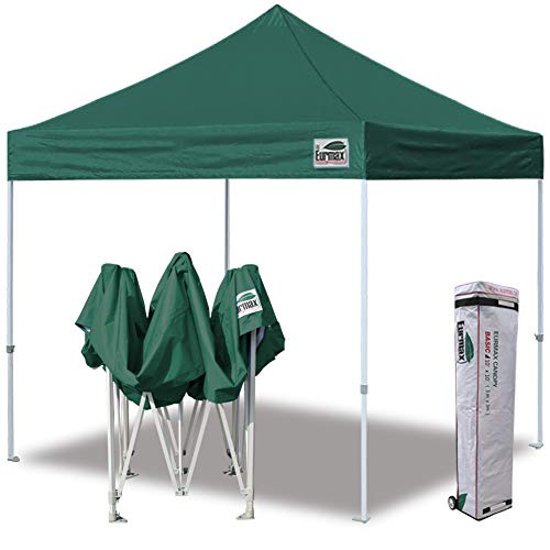 Eurmax 10'x10' Ez Pop Up Canopy Tent Commercial Instant Shelter with Heavy Duty Carry Bag,Forest Green