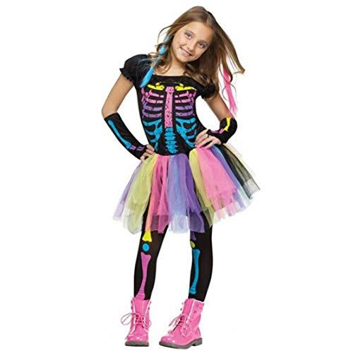 Disfraz Esqueleto Mujer Niña Cosplay de Halloween Carnaval Disfraces Terror Arco Iris Vestido/M