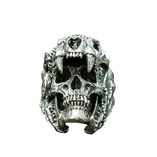 YANGFJcor Vintage Indian Jaguar Warrior Schädelring für, Retro Black Satan Devil Edelstahl Einzigartiger Schädelring, Für Männer Mädchen Same Stil,Devil 7