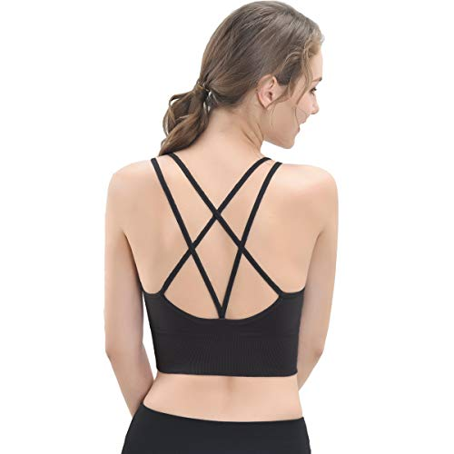 Sports Bra for Women Strappy Workout Yoga Bra Tops Cross Back Wirefree Fitness Running Gym