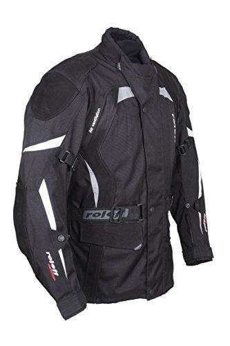 ROLEFF RACEWEAR RO594 lange Textil Motorradjacke mit Nubukleder und Protektoren, schwarz, Größe XL