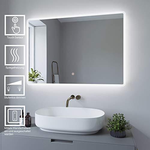 AQUABATOS 100x70cm Badspiegel mit Beleuchtung badezimmerspiegel LED Lichtspiegel Wandspiegel, Touch-Schalter Dimmbar, Kaltweiß 6400K, Spiegelheizung, Anti-beschlag, IP44, CE