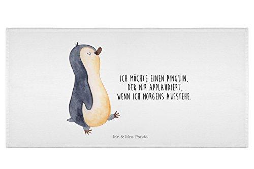 Mr. & Mrs. Panda Handtücher, Badehandtuch, 50 x 100 Handtuch Pinguin marschierend mit Spruch - Farbe Weiß