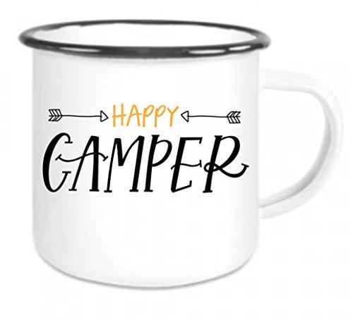 crealuxe Emaille Tasse mit Rand Happy Camper - Kaffeetasse mit Motiv, Campingtasse Bedruckte Email-Tasse mit Sprüchen Oder Bildern