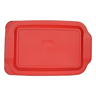 Pyrex 232-PC Quart Oblong Plastic Lid , Non Porus, 7x11-Inches (Red)