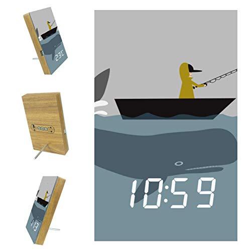 Digitaler Wecker für Schlafzimmer Küche Büro 3 Weckereinstellungen Radio Holz Schreibtischuhren-Ozean Seeboot Fischer Tierwal