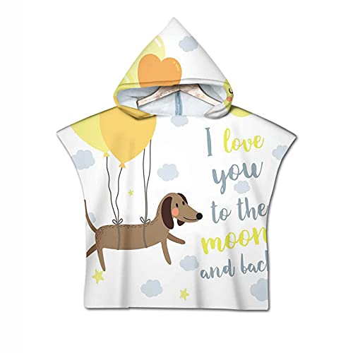 Love You Hooded Beach Bath Towel, Dog with Balloons and Concept Hearts Sun Clouds Puppy Best Friends Microfiber Children Beach Bath Swimming Hooded Towel for Kids Boys Girls Toddler Age 2 to 6 Years