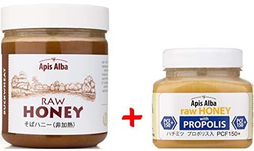 【Amazon.co.jp限定】 はちみつ 蜂蜜 ハチミツ 生 2個組 セット (ソバ蕎麦はちみつ 624g、プロポリスハニー150+ 390g) Raw Honey Set Buckwheat Raw Honey 624g & Propolis PCF