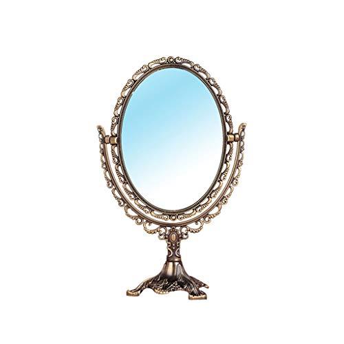 Espejo Maquillaje Espejo Cosmético Clásico Antiguo Antiguo Tallado Espejo de Doble Cara, Espejo de Maquillaje, Espejo de Afeitar, Espejo de vanidad Mejor para baño Espejo Maquillaje Espejo Cosmético