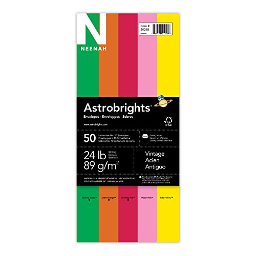 Wausau Astrobrights, 10 Envelope Assortment, Assortment, 1, 50 Count, 4.125 X 9.5 Inches (20248)
