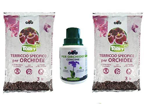 CIFO Linea Torfy, 2 Confezioni Terriccio per Orchidee da 3 lt. + 1 Flacone Concime Liquido Orchidee 200 ml. con Corteccia, Perlite Fibra di Cocco. Fertilizzante e Crescita delle Orchidee