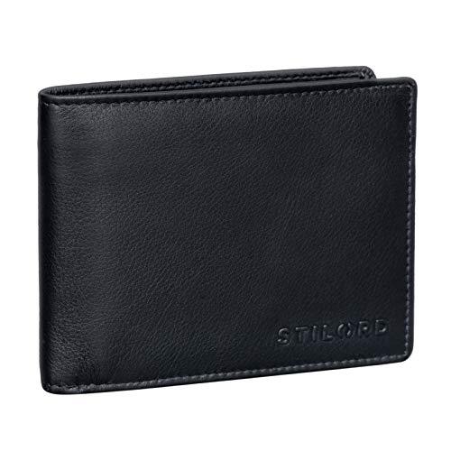 STILORD 'Ethan' Vintage Leder Geldbörse Herren Portemonnaie Ledergeldbeutel mit Karten-Fächer Münzfach und Ausweisfach Brieftasche aus echtem Leder, Farbe:schwarz