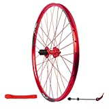 Mountain Bike Wheels 26 Inch, Double Wall MTB Rim Brake 32 Holes Disc Brake Quick Release Black Rim 7 8 9 10 Speed 135mm (Color : Red)
