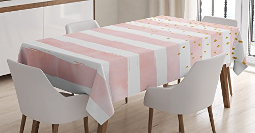 Ambesonne Modern Tablecloth, Striped Pattern in Pastel Tones with Vivid Colored Dots Shabby Print, Rectangular Table Cover for Dining Room Kitchen Decor, 60