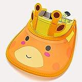 feiren Summer Kids Sun Visor Niñas Niños Niños Protección UV Tapa Vacía Sombrero con Mangas Bebé Cartoon Cute Cap Niños Panamá Hat Sleeve Set (Color: Amarillo Sombrero de vaca)