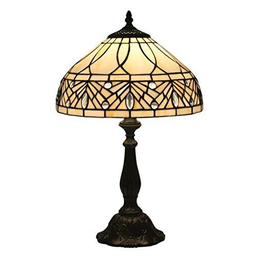 Lámpara de mesa estilo Tiffany, escritorio al lado de las lámparas, 49 cm de alto / ancho 30 cm Pantalla de vitrales 1 luz retro americano para mesa de café, sala de estar, dormitorio (Material: Base