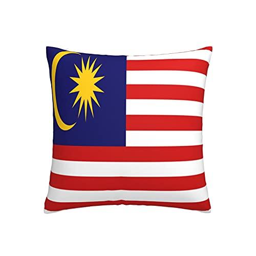 Kissenbezug mit Flagge von Malaysia, quadratisch, dekorativer Kissenbezug für Sofa, Couch, Zuhause, Schlafzimmer, für drinnen & draußen, 45,7 x 45,7 cm