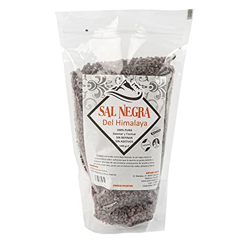 Sal Negra del Himalaya 100% Natural Sazonar y Cocinar Sin Refinar Sin Aditivos - Sal Negra del Himalaya Gruesa 1Kg