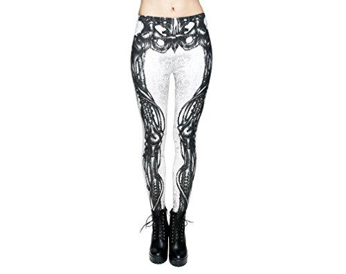 Hanessa vrouwen Leggings bedrukte legging cadeau voor Kerstmis broek lente zomer kleding skelet botten grijs wit L140