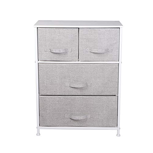 J Chest of Drawer, 4 Drawer unit Storage Cabinet for Bedroom, Living Room, Non-Woven Fabric Closet Cloth Organizer Basket