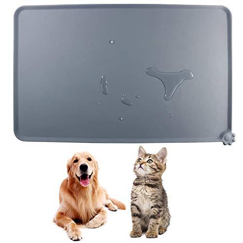 COTEY Estera de Alimentación de Mascotas, 1 Piezas Silicona Alfombrilla para Comedero de Mascota Tapete para Comer Perros y Gatos, para Mascotas Pequeñas y Medianas, 47 x 30 cm(Gris)