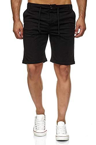 Reslad Leinenhose Kurze Hose Herren Leinen-Shorts lässige Männer Freizeithose Strandhose Stoffhose Sommer-Shorts RS-3002 Schwarz XL