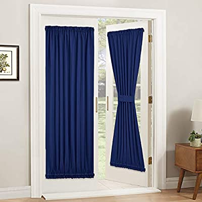 PONY DANCE Patio Door Curtain - Window Treatments Blackout Panels Solid Heavy-Duty Rod Pocket Front Door Drapes for French Door with Tieback, 54 by 72 inches, Purplish Blue, 1 Piece