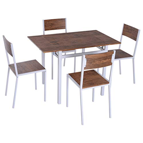 HOMCOM 5 Piece Expanding Drop Leaf Dining Table and Chairs Set - Walnut/White