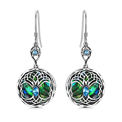 Celtic Tree of Life Earrings Sterling Silver Family Tree Dangle Drop Earrings with Birthstone Crystals, Birthday Jewelry Gifts for Women Her (Simulated Aquamarine)