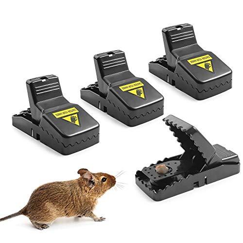 Herefun Trampa Ratones, 4 Piezas Trampa Reutilizable Ratas Ratoneras Trampa Ratas Trampas para Ratones Pequeños para Hogar Ático Garaje Cocina (4 Pcs)