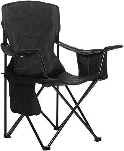 Amazon Basics - Campingstuhl mit Kühlfach, Schwarz, Gepolstert, XL