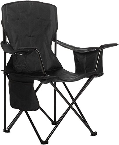 AmazonBasics Padded Folding Outdoor Camping Chair with Bag - 34 x 20 x 36 Inches, Black