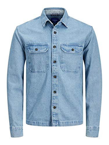 JACK & JONES Herren JJIPETE Shirt LS Jeanshemd, Blau (Light Blue Denim Fit: Relax), Large (Herstellergröße: L)
