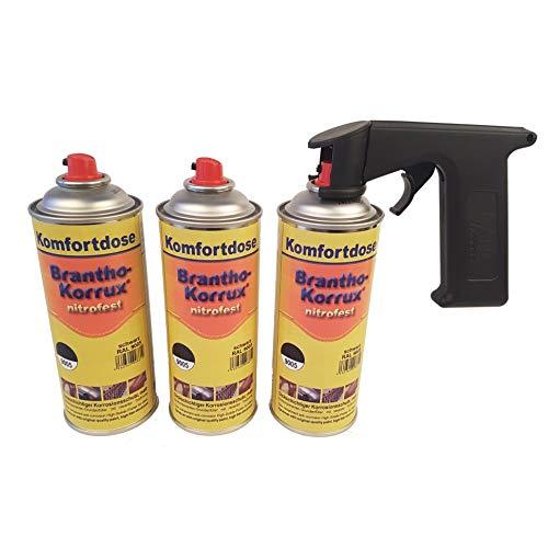 Brantho Korrux 3 x nitrofest schwarz 400ml Spraydose Rostschutz Metallschutzfarbe + Spraydosenhandgriff