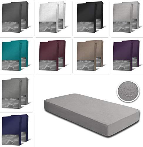 one-home 2er Pack Frottee Spannbettlaken Spannbetttuch 90x200 140x200 180x200 Baumwolle, Farbe:Silber, Maße:140x200 cm - 160x200 cm