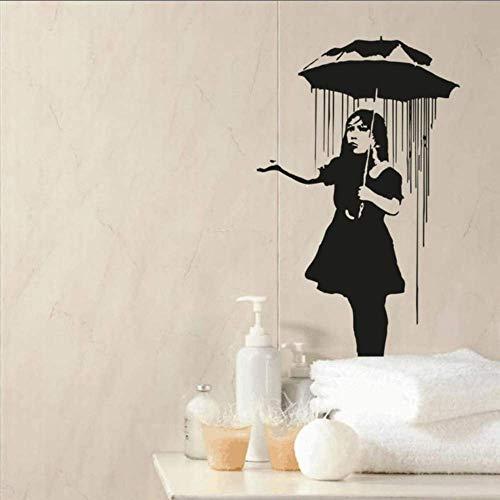 Einsames Mädchen Mit Regenschirm Silhouette Kunst Wandaufkleber Home Zimmer Dekor Vinyl Wandbilder Mode Wandtattoos 57X81Cm
