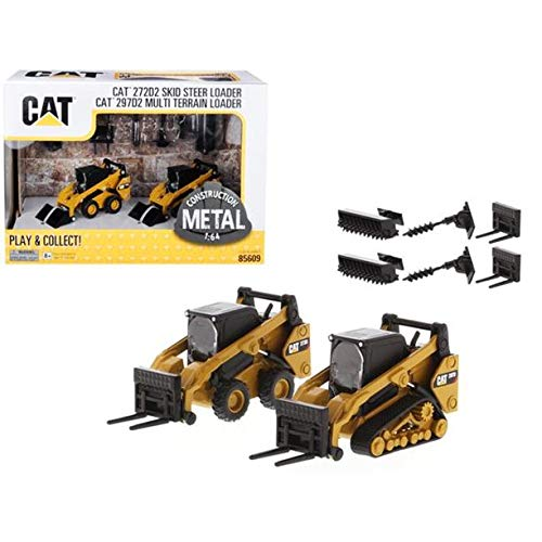 New DIECAST Toys CAR CAT 1:64 Skid Steer Loader & Compact Track Loader with Accessories 85609