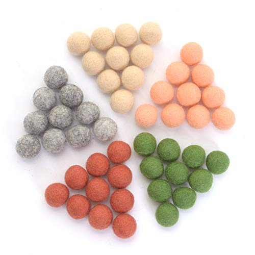 Glaciart One Wool Felt Balls, Felt Ball (50 Pieces) 2 Centimeters – 0.8 Inch, Handmade Felted 5 Arizona Boho Colors (Blush, Light Heather, Olive and Copper) - Bulk Small Puff for Felting and Garland