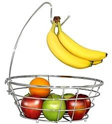 DecoBros Wire Fruit Tree Bowl with Banana Hanger, Chrome Fiantioxidant-fruits.comsh