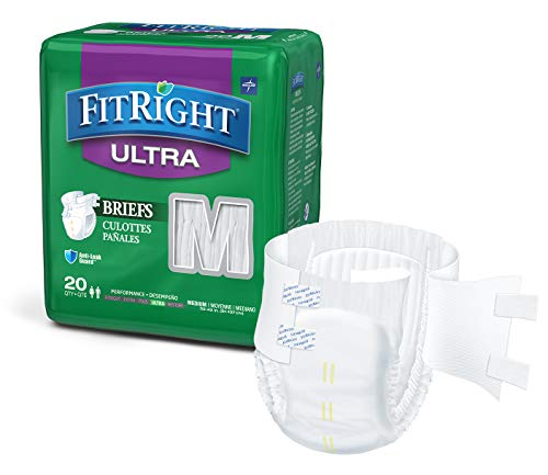 """Medline - FITULTRAMD FitRight Ultra Adult Diapers, Disposable Incontinence Briefs with Tabs, Heavy Absorbency, Medium, 32""""-42"""", 4 packs of 20 (80 total)"""